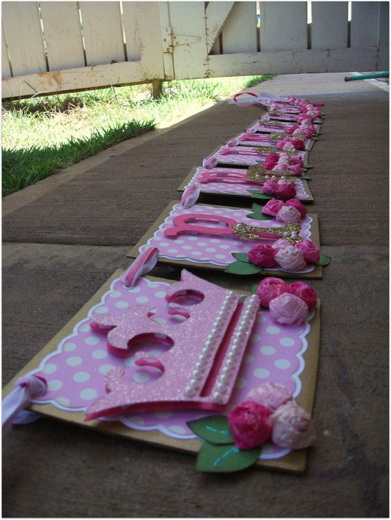 Princess Handmade Banner - Custom made - GO GREEN - Princess Birthday Banner