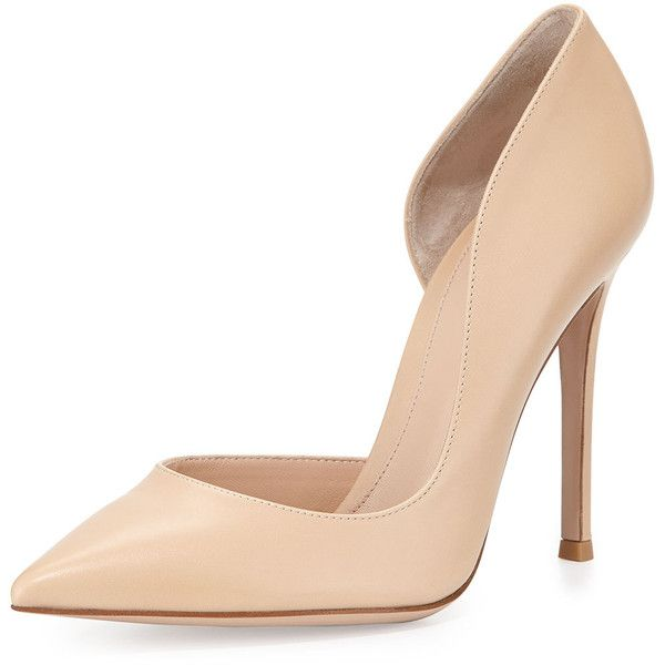 Gianvito Rossi Leather Open-Side Pump (€715) ❤ liked on Polyvore featuring shoes, pumps, heels, sapatos, обувь, nude, pointy-toe pumps, high heel pumps, leather pointy toe pumps and nude pumps