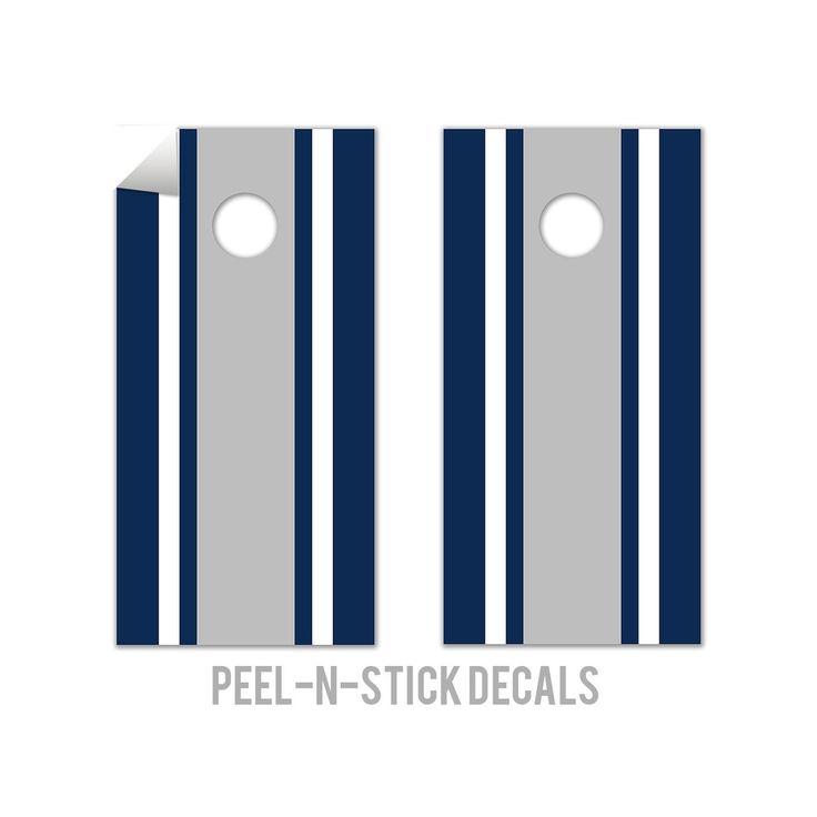 Classic Stripe - Blue, White, Grey Cornhole Board Decals, Natural
