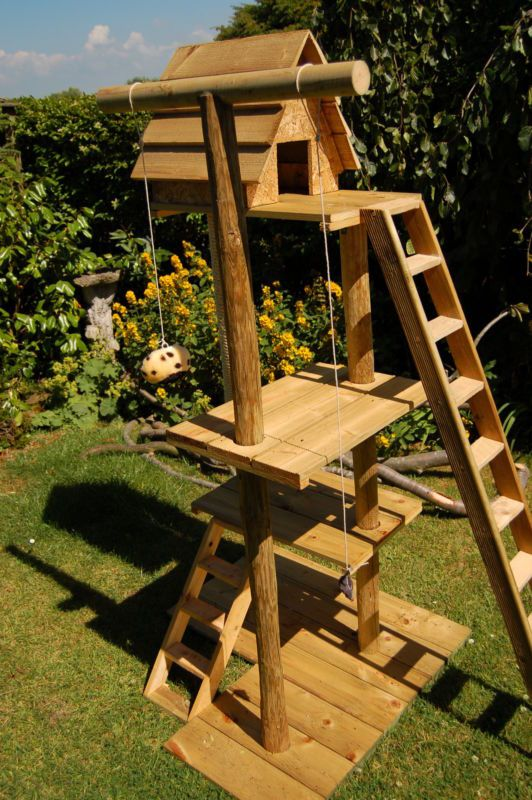 Cat playhouse make it myself. Maybe replace ladders with trees since they love climbing so much