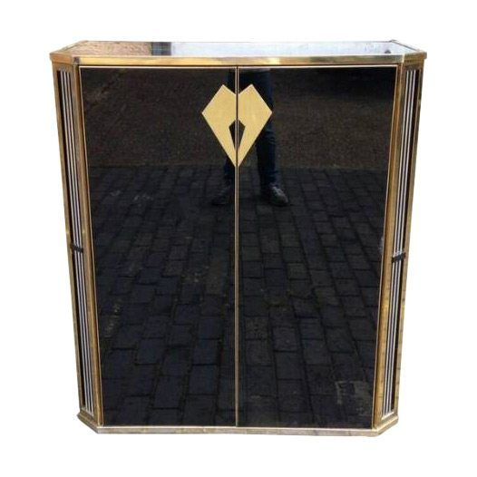 Italian or French Mid Century Black Glass and Brass Bar Cabinet