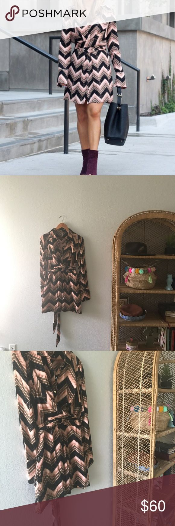 Free People Alistair Chevron shirt dress size sm Great Free People chevron shirt dress. Very 70's inspired. It has a great wrap tie, cross detail in the front. Only worn 2 times... Free People Dresses