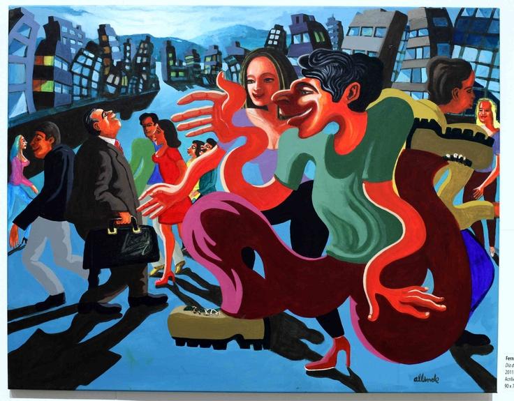 """Fernando Allende Bellido, """"Día de semana"""", acrílico sobre tela."""
