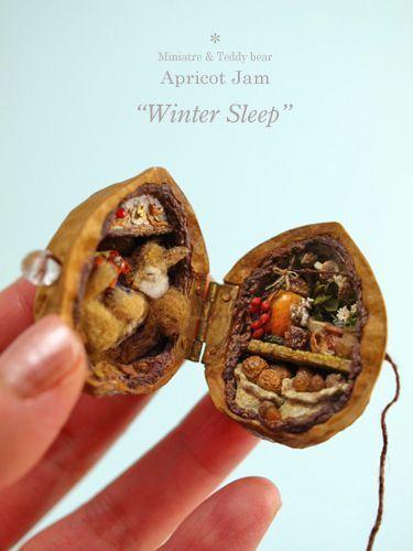 winter sleep walnut diorama: