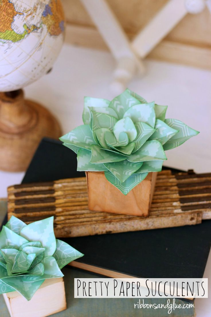Pretty Paper Succulents made with Silhouette Cameo and Barc Wood Veneer Paper such a pretty way to add succulents in to your home decor