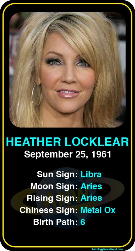 Celeb #Libra birthdays: Heather Locklear's astrology info! Register here to see more: http://www.astroconnects.com #astrology #horoscope #zodiac #birthchart #natalchart #heatherlocklear