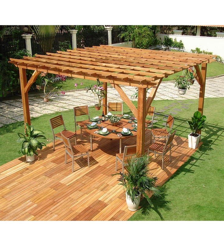 Forest Stewardship Council-Certified Eucalyptus Coliseum Pergola from Plow & Hearth  Something like this would be cool over part of our deck!
