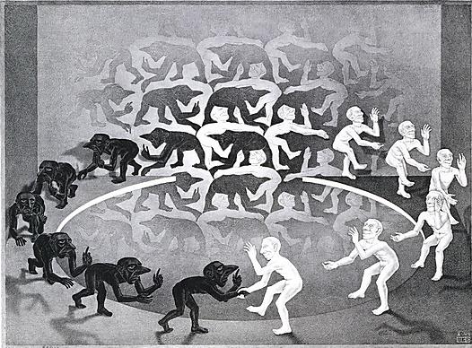M.C. Escher, The Encounter, May 1944, lithograph, Metropolitan Museum of Art. #Art