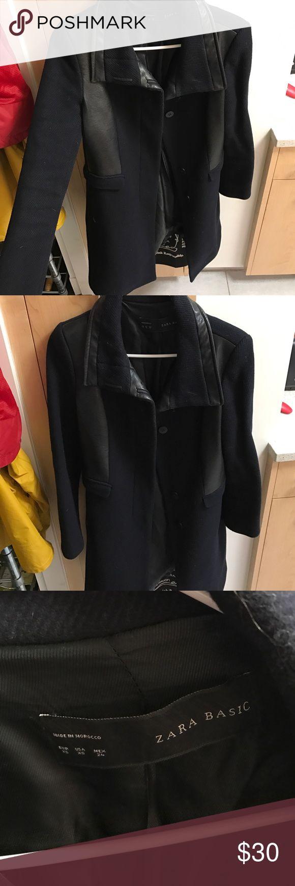 """Zara Winter Coat Zara navy XS women's winter coat. Coat has """"leather"""" detailing in black. Zara Jackets & Coats Pea Coats"""