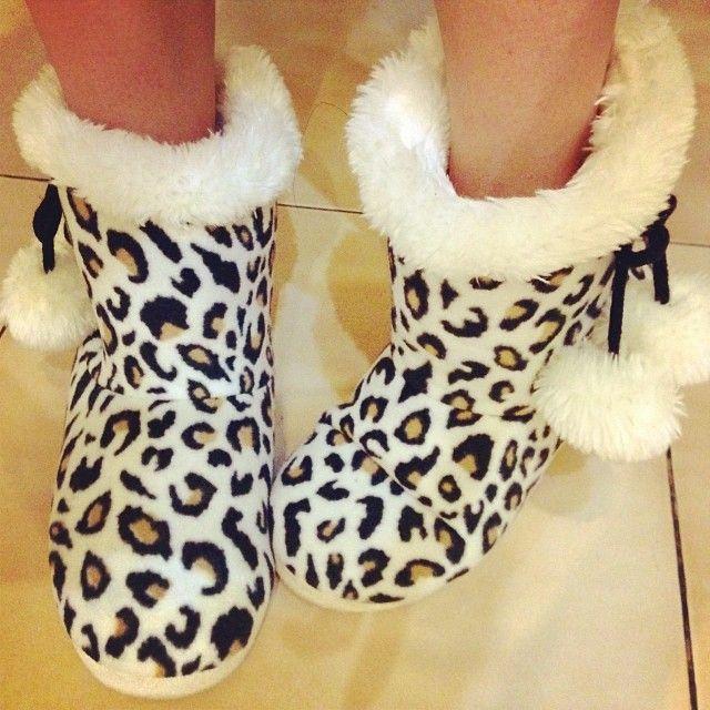 ❤Cheetah slipper boots
