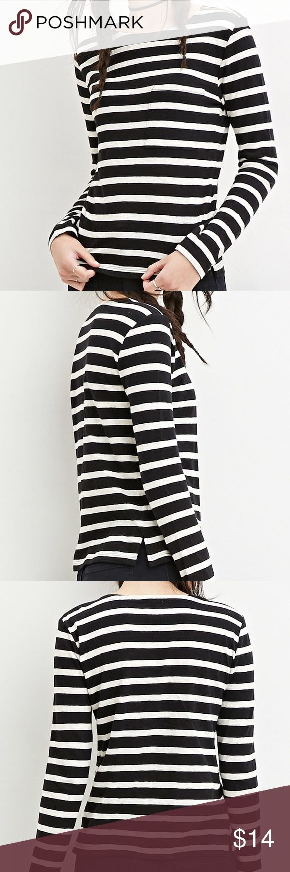 Forever 21 Long sleeve top! Forever 21 black and white long sleeve top! With Zipper on one shoulder! Condition:New. Forever 21 Tops Tees - Long Sleeve
