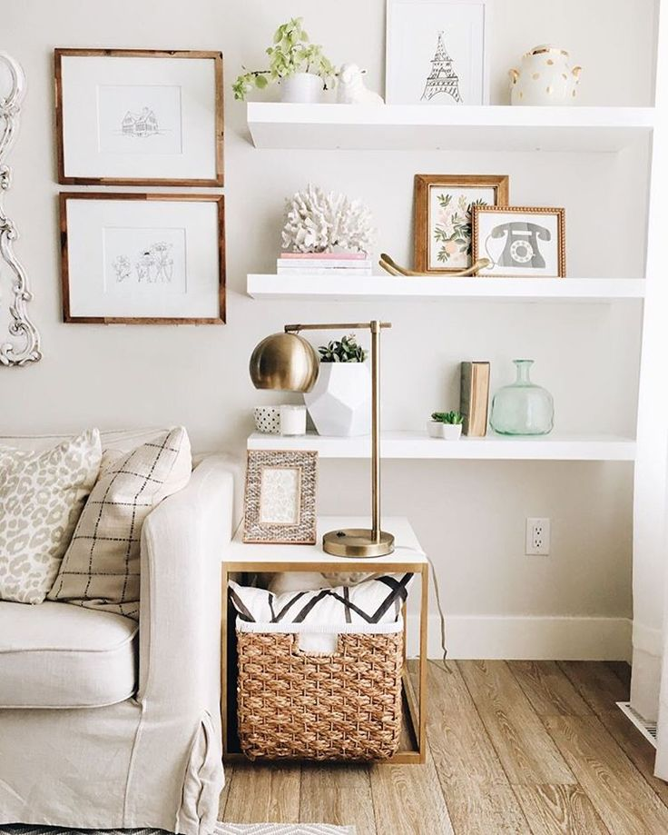 25 best ideas about white wall shelves on pinterest for Shelf decor items