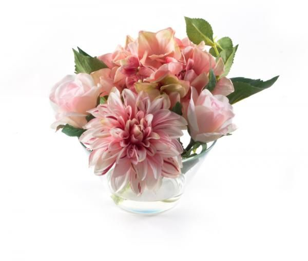 Hydrangea, dahlia and roses in a bowl in still water. Height 18cm. €28.00