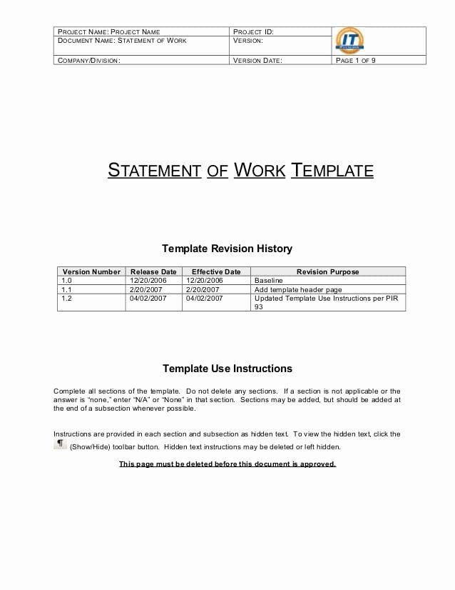 Statement Of Work Template Word Elegant 5 Statement Work Templates