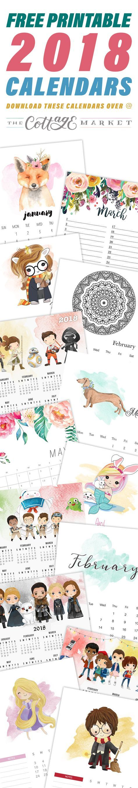 2018 IS HERE and what do you need to start this New Year Off right? A Free Printable Calendar of course. Well we have one for everyone. From The Harry Potter Fan to Star Wars …Pretty Flowers and Watercolor and so much more. Come on in and find the Calendar or Calendars you want to …