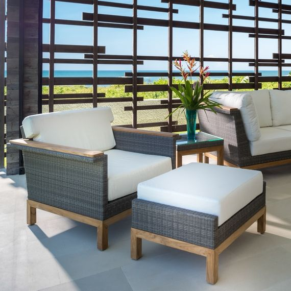elegant outdoor furniture azores lounge chair and ottoman