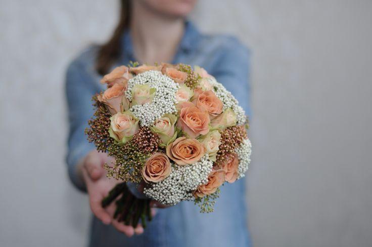 Букет невесты с розой капучино / Bridal bouquet with cappuccino roses