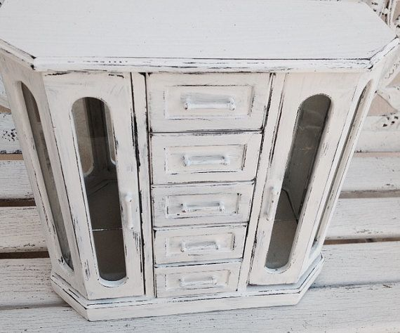 SHABBY CHIC JEWELRY Box Large White Jewelry Armoire Jewelry Holder Gift For Her Cottage Chic Jewelry Cabinet Rustic White Jewelry Chest www.etsy.com/shop/SouthamptonVintage