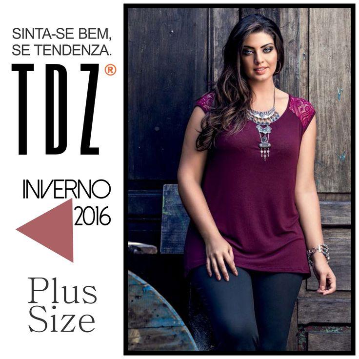 """Blusa Plus Size """"Power"""" crepe com renda da nova coleção de Inverno da TDZ. Sinta-se bem, use Tendenza."""
