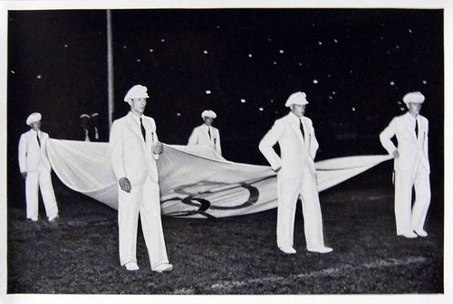 1936 Berlin Olympics Photograph - German Athletes Carrying the Olympic Flag.