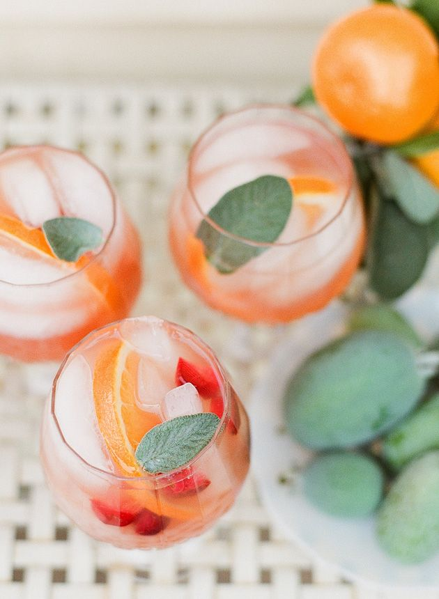 Guava sangria + a touch of sage