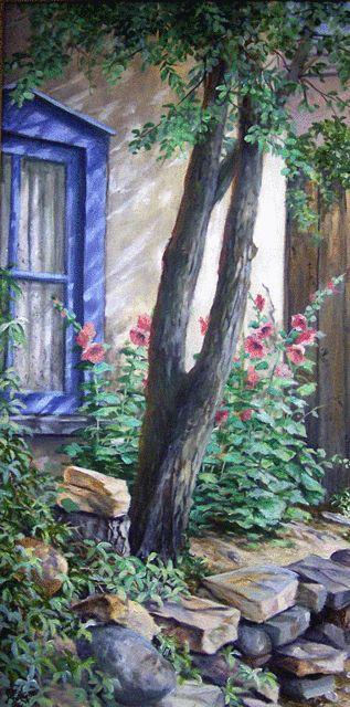 Hollihocks & Window Pat Durgin