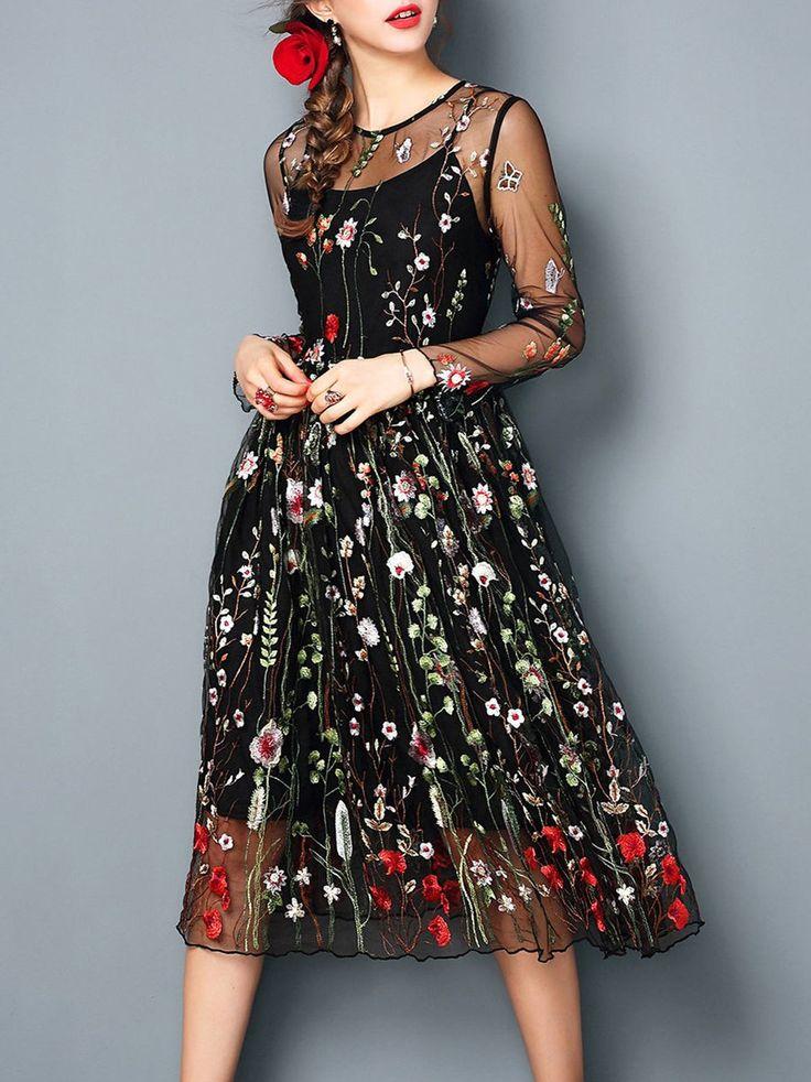 Shop Midi Dresses - Vintage Crew Neck Floral-embroidered Polyester Long  Sleeve Midi Dress online