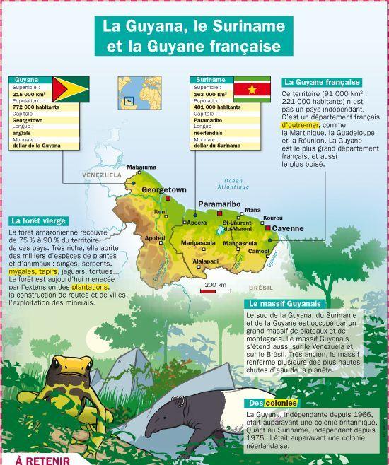 La Guyana, le Suriname et la Guyane française