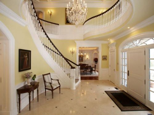 Beautiful staircase inside a european mansion in new for Fancy houses inside