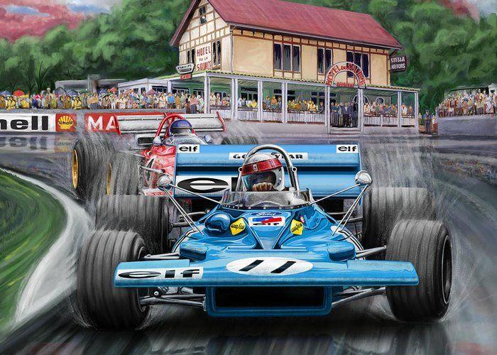 Jackie Stewart At Spa In The Rain By David Kyte Jackie Stewart Automotive Art Illustrations Automotive Artwork