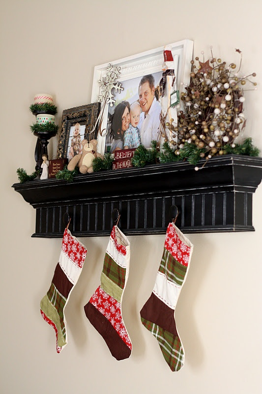 "Love hanging stockings on a holiday ""shelf""!!!"