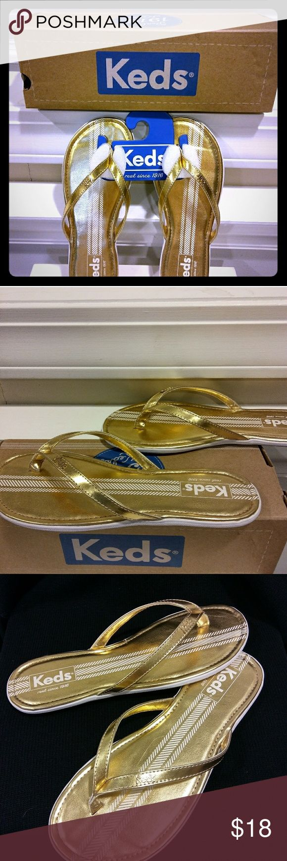 NEW KEDS TEALIGHT MET GOLD FLIP FLOPS 7M BRAND NEW SUPER CUTE AND SUMMERY! A pair of KEDS flip flops that go by the style name: TEALIGHT MET GOLD. True to size in a 7M. Good old KEDS cool style, durability and comfort (especially between the toes). Lightly padded as well. You'll love 'em! Keds Shoes Sandals