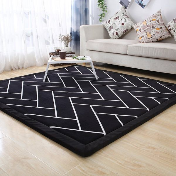 Black and white Thicken velvet Tatami Carpet