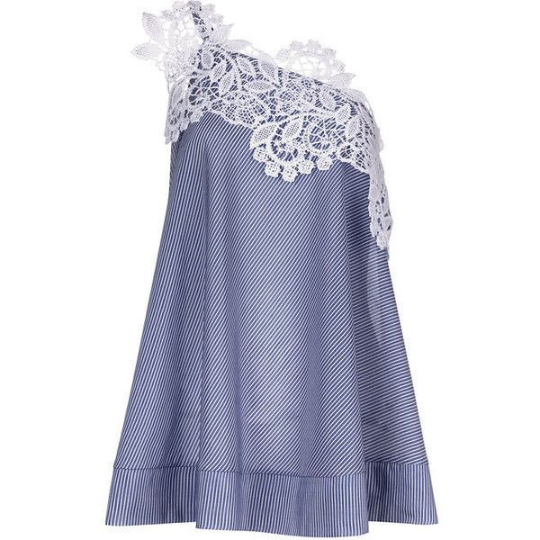 Lila Eugenie Blue Cotton Stripe One Shoulder Jesi Top ($235) ❤ liked on Polyvore featuring tops, macrame top, blue striped top, trapeze top, one shoulder top and stripe top
