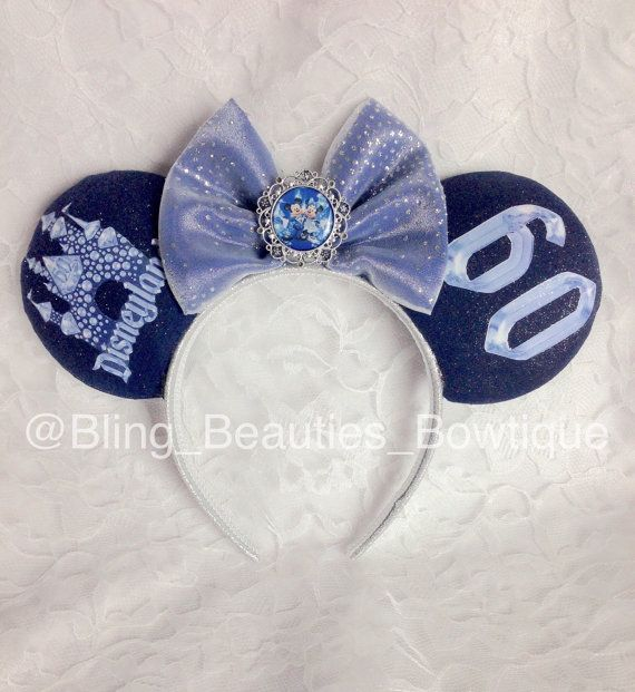 Disneyland 60th Anniversary Minnie Mouse Ears Headband Diamond Celebration