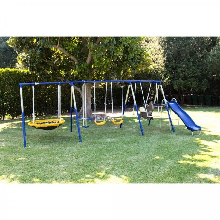 Delicieux Metal Swing Set Trampoline Slide Glider Saucer Kids Outdoor Backyard  Playground