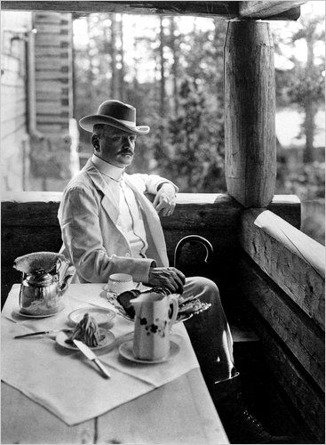 """Jean Sibelius having an afternoon tea. 2015 will be a """"Sibelius year"""", 150 years after his birth. I'm ready!"""