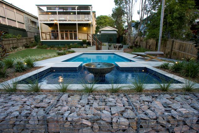 Landscape Design Brisbane. Gabion rock wall and pool