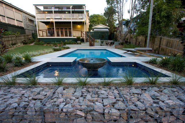 Landscape Design Brisbane. Gabion rock wall and pool