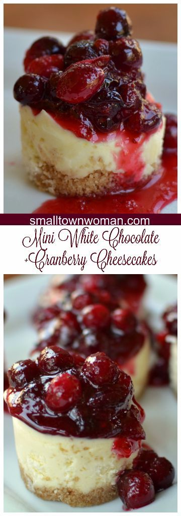 Love these Mini White Chocolate Cranberry Cheesecakes because they are the perfect individual size. They are super cute and diminutive.