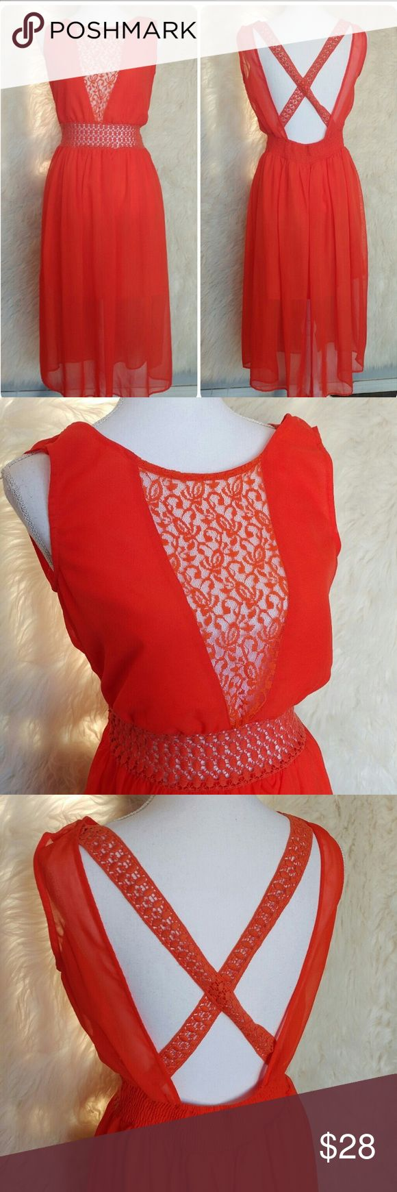 ASOS Red Dress ✨ Red dress, with crochet cross back. Lace in front and side panels. Lining goes to thigh and overlay goes to mid knee. Reposh, beautiful dress but didn't fit. 100% poly, great condition. No flaws ASOS Dresses Midi