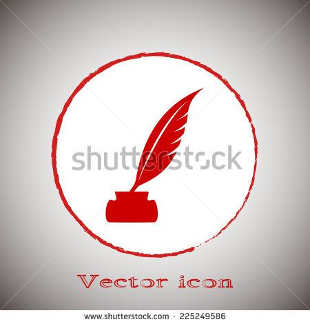 Vector illustration of icon writing pen Red round button on a gray background