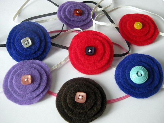 Handmade Stacked Felt Flower on Skinny Elastic Headband, by ...