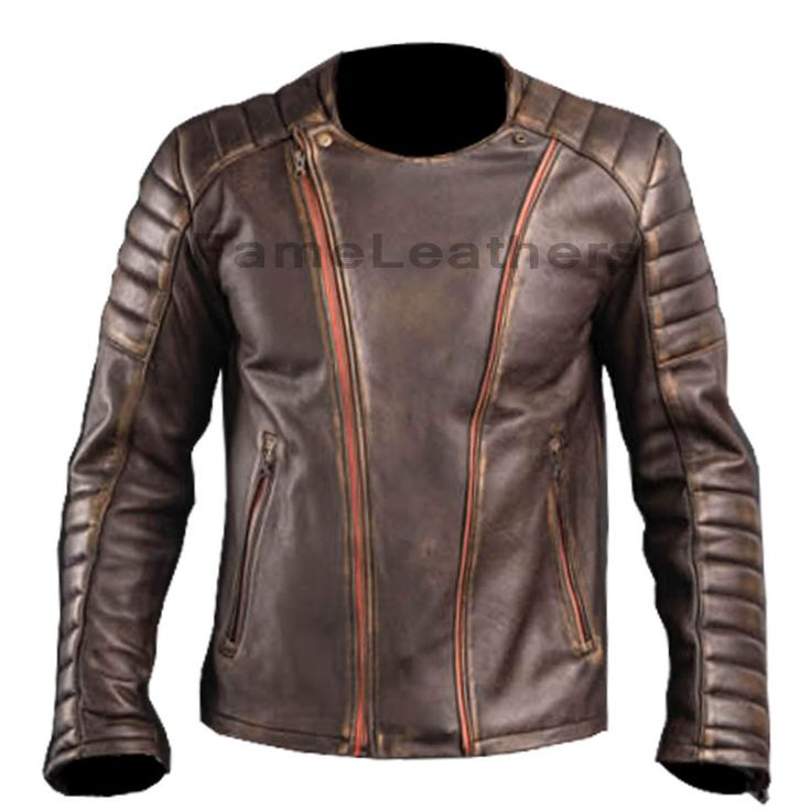 Cafe Racer Brown Motor Cycle Leather Jacket,leather biker…