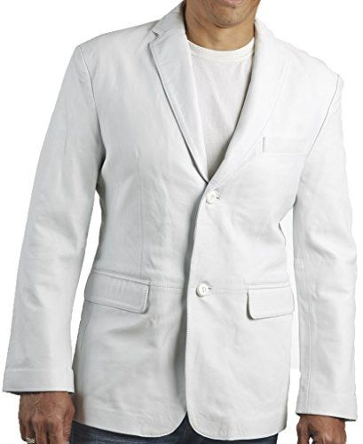 Awwalleather Men's Classic Leather Blazer MB 10 Large White