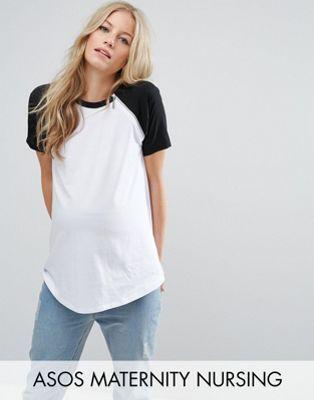 ASOS Maternity NURSING Color Block T-Shirt with Zip Detail