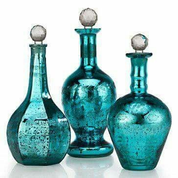 turquoise bottles