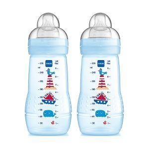 Mam 270ml Baby Milk Feeding Bottles - Blue boys design featuring a seaside theme. http://www.parentideal.co.uk/mothercare---bottles.html