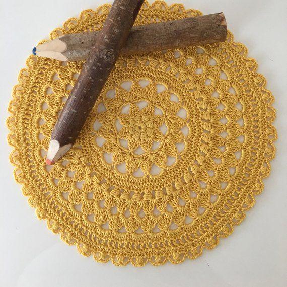 Modern crochet doily for desk or office table, Handmade ...