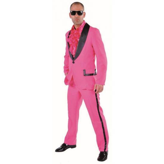 Roze smoking voor heren. Roze smoking met zwarte revers. Het kostuum is gemaakt van polyester en heeft een normale pasvorm.